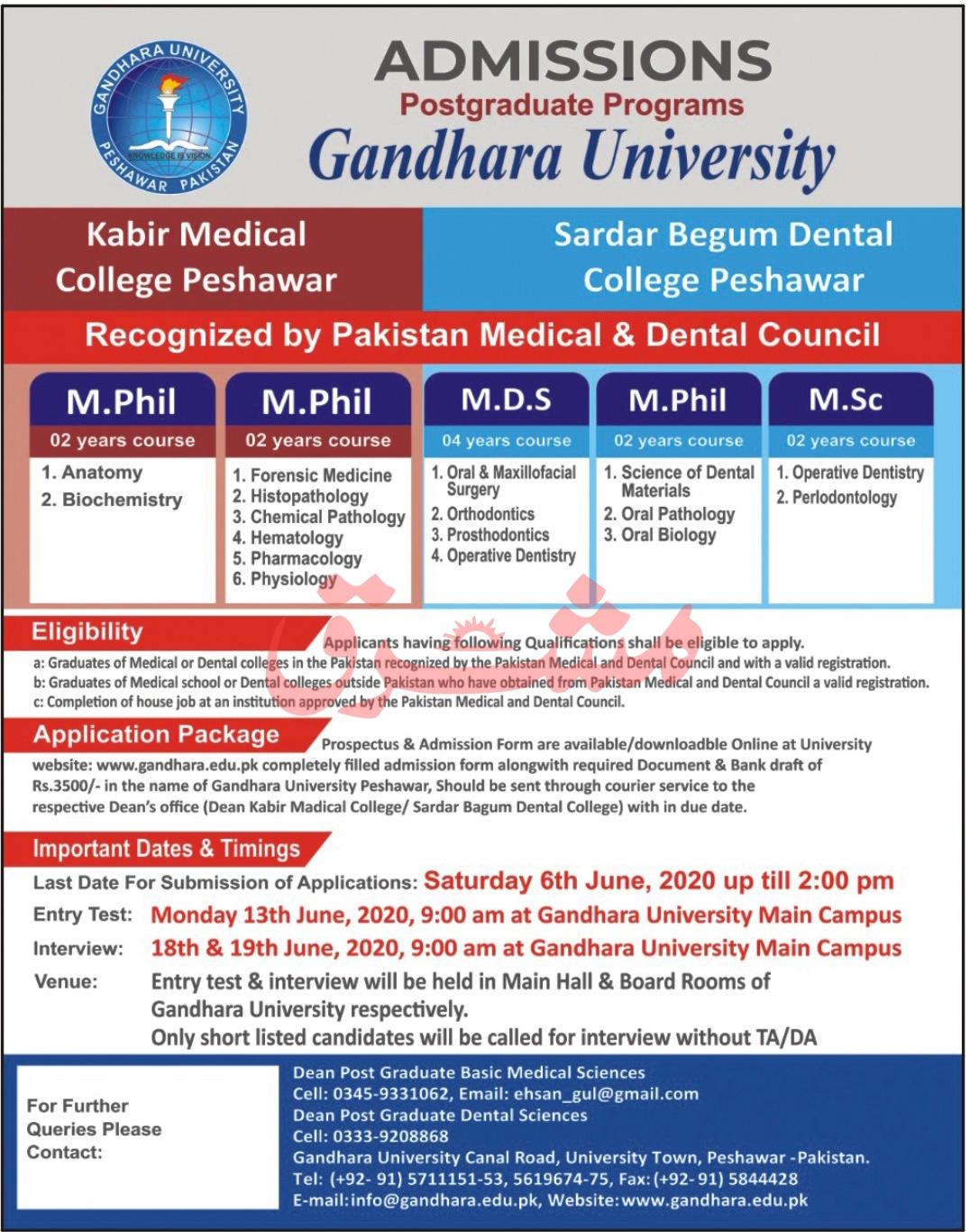 Gandhrar University Peshawar Admissions