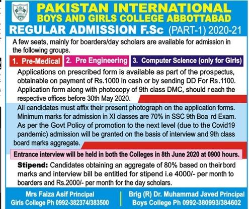 Pakistan International Boys & Girls College Abbottabad Admissions
