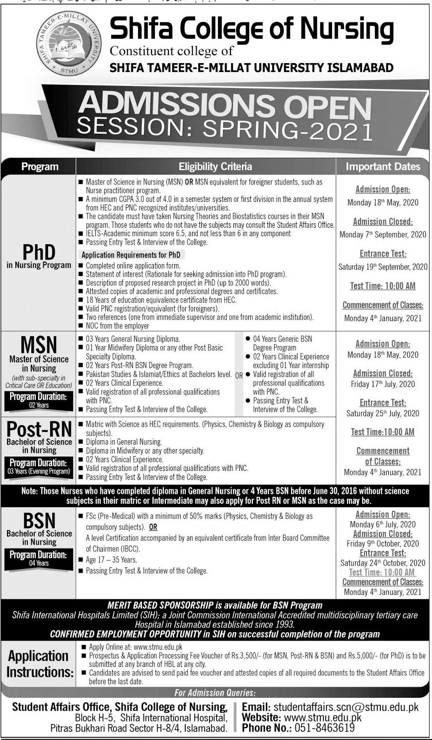 Shifa College Of Nursing Islamabad Admissions
