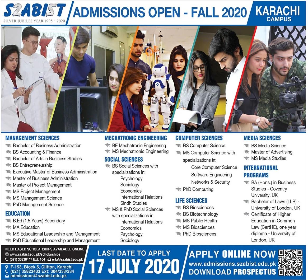 Szabist Karachi Admissions