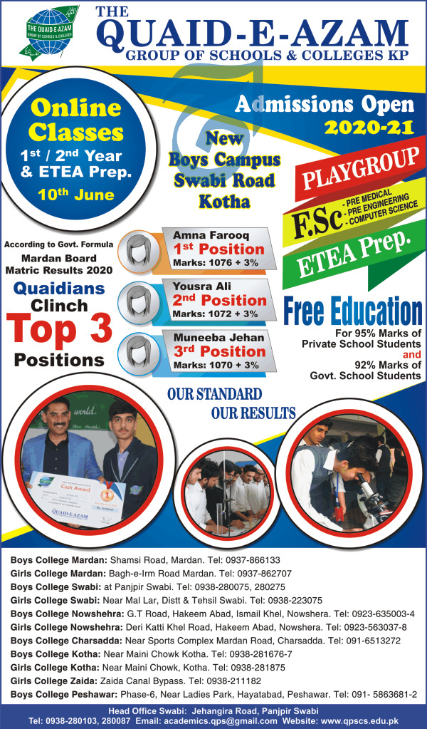 The Quaid E Azam Group Of School & Colleges Swabi Admissions.