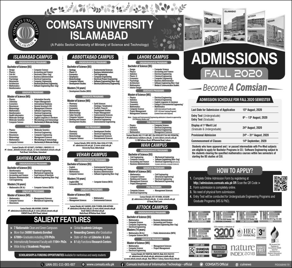 Comsats University Islamabad Admissions