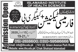 Islamabad Institute Of Health Sciences Islamabad Admissions