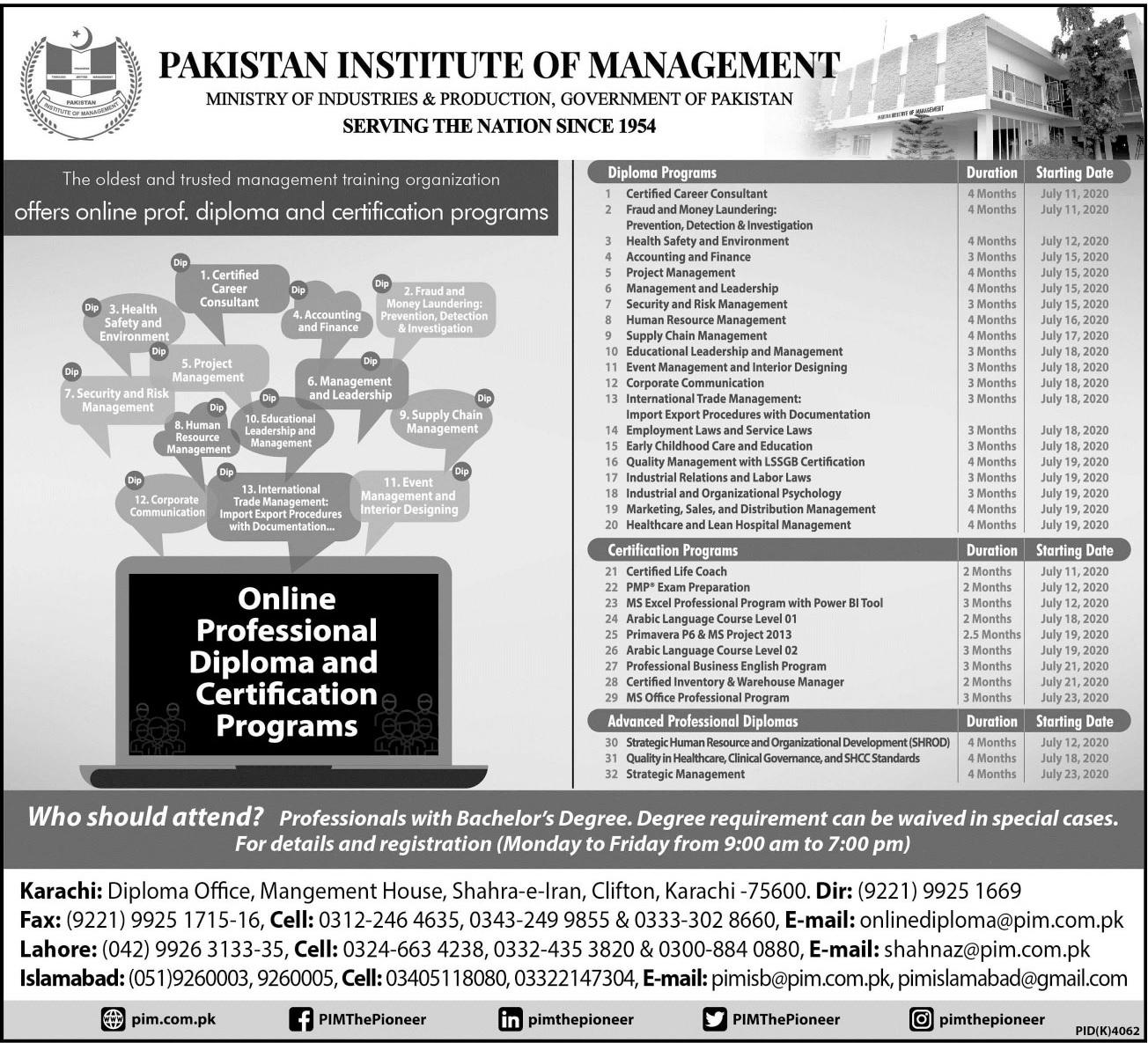 Pakistan Institute Of Management Karachi Admissions