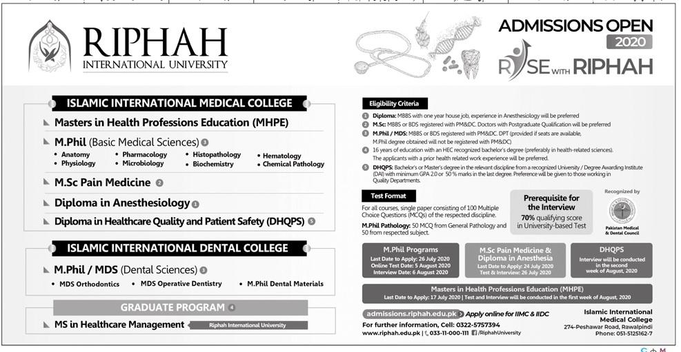 Riphah International University Rawalpindi Admissions