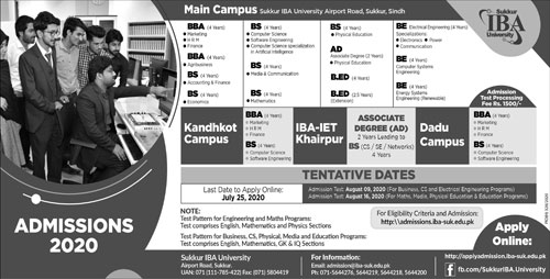 Sukkur Iba University Sukkur Admissions