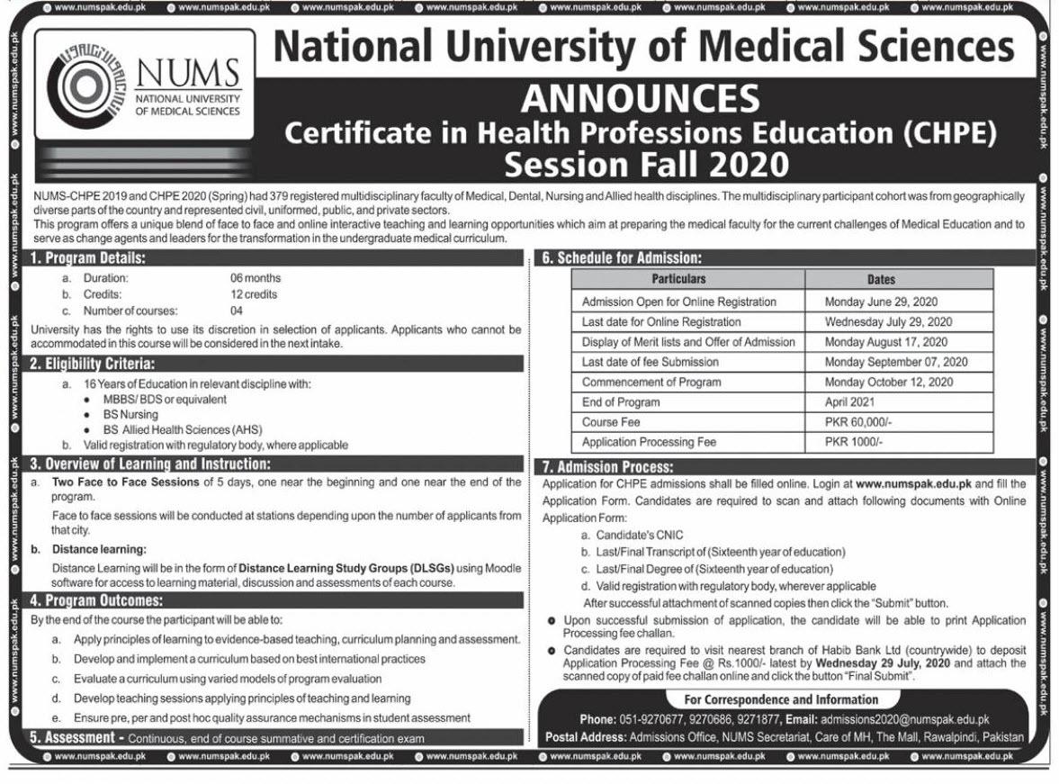 National University Of Medical Sciences Rawalpindi Admissions
