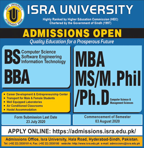 Isra University Hyderabad Admissions