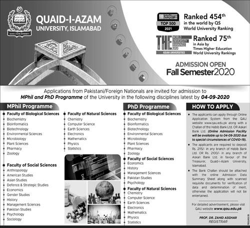 Quaid I Azam University Islamabad Admissions