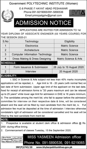 Government Polytechnic Institute Peshawar Admissions