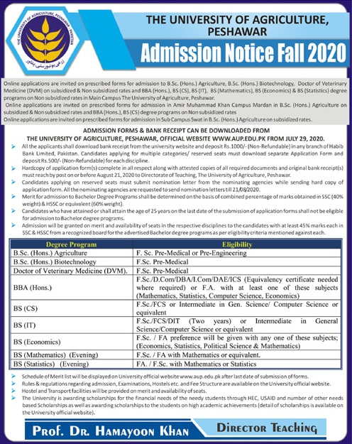 University Of Agriculture Peshawar Admissions