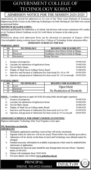 Government College Of Technology Kohat Admissions