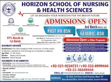 Horizon School Of Nursing & Health Sciences Karachi Admissions