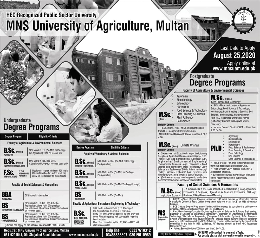 Mns University Of Agriculture Multan Admissions