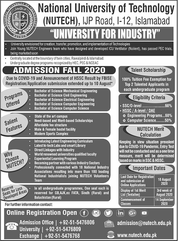 National University Of Technology Islamabad Admissions