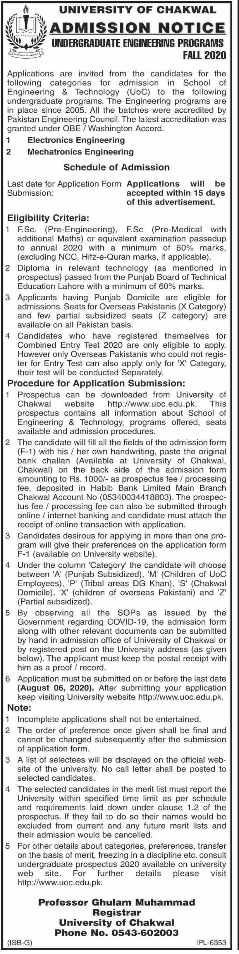 University Of Chakwal Admissions
