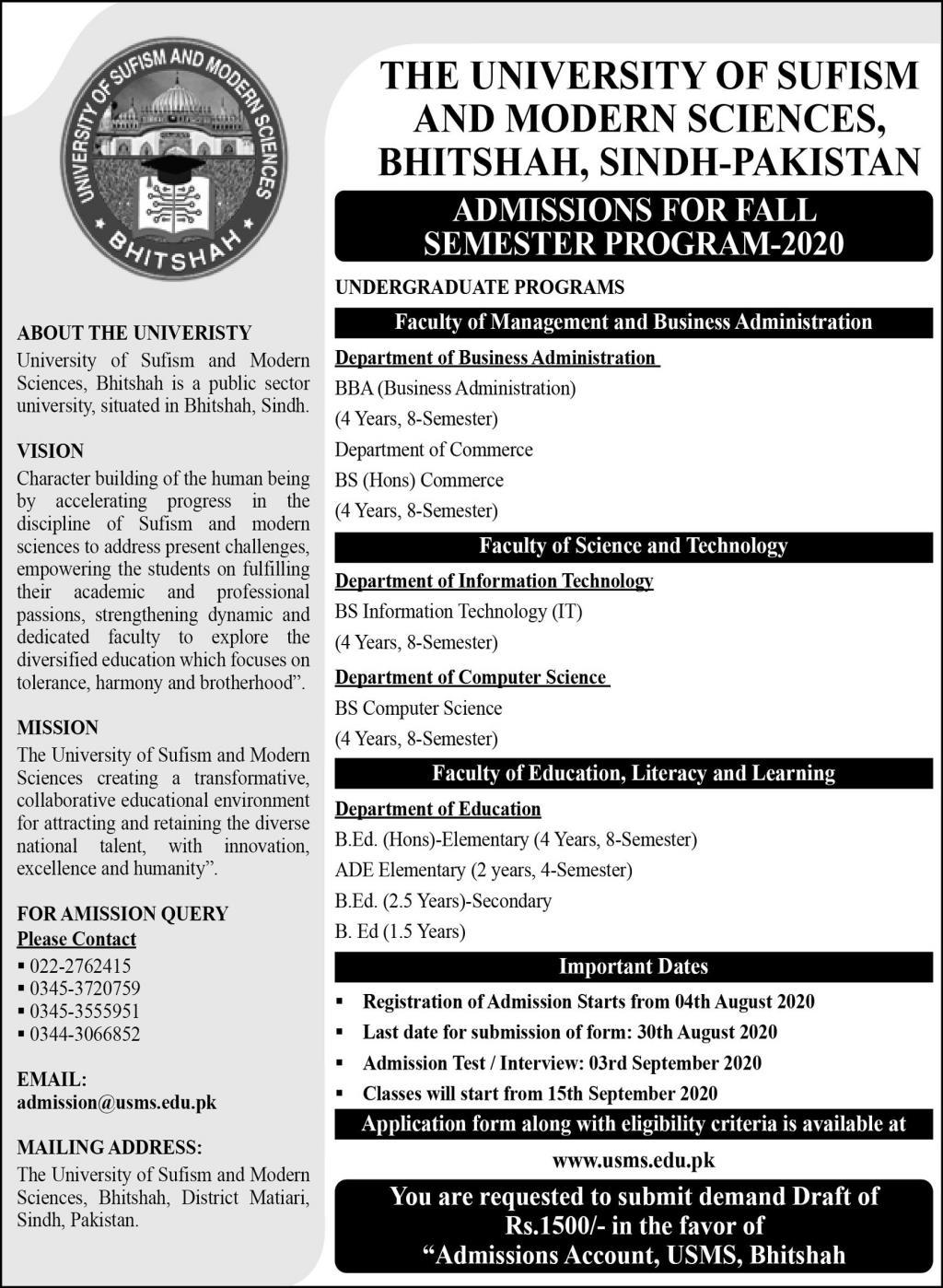 University Of Sufism & Modern Sciences Bhitshah Admissions
