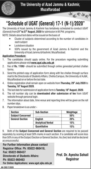 The University Of Azad Jammu & Kashmir Muzaffarabad Admissions