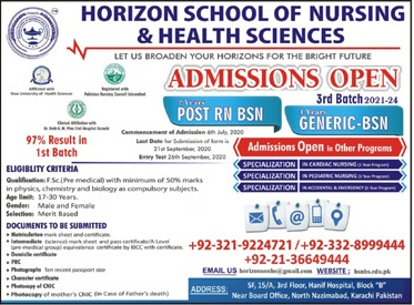 Horizon School Of Nursing & Health Sciences Karachi Admissions