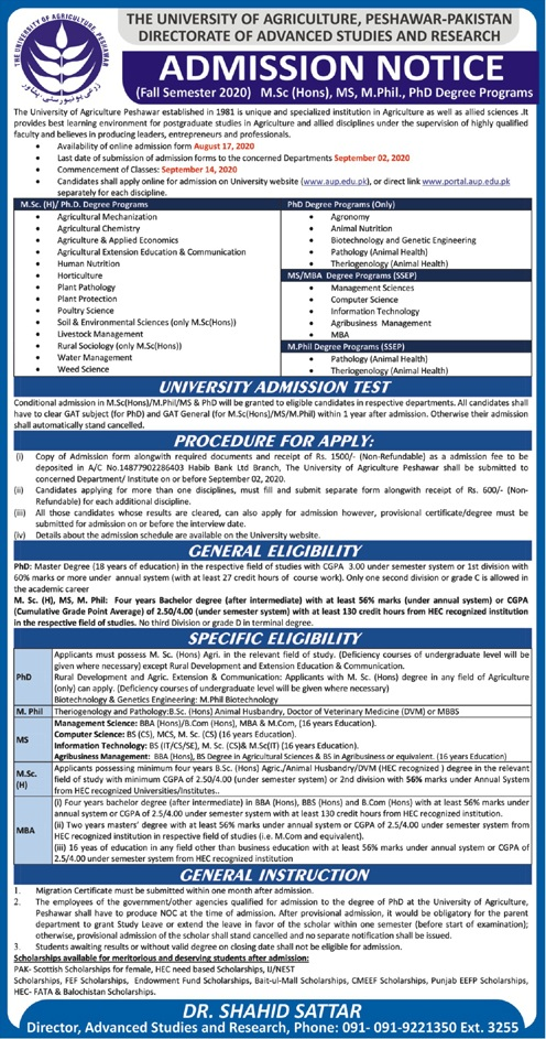The University Of Agriculture Peshawar Admissions