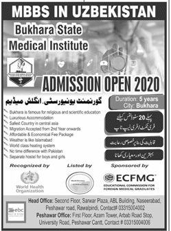 Bukhara State Medical Institute Peshawar Admissions