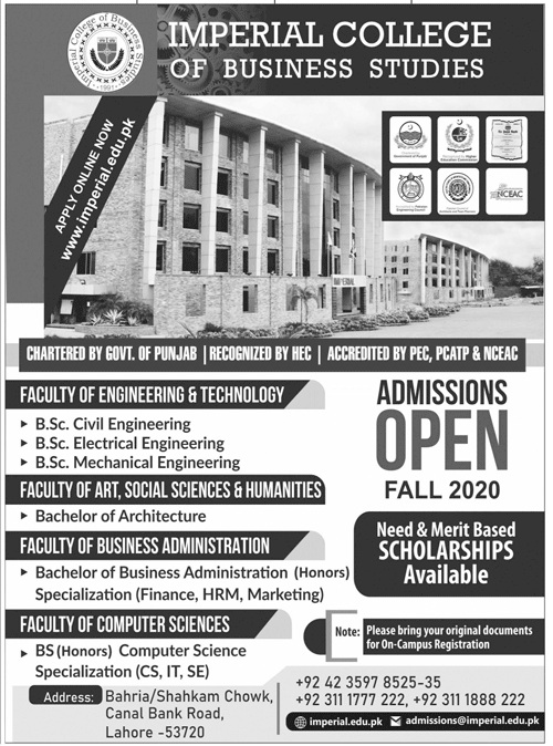 Imperial College Of Business Studies Lahore Admissions