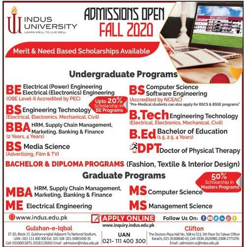 Indus University Karachi Admissions