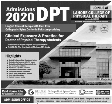 Lahore College Of Physical Therapy Lahore Admissions