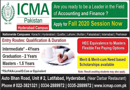 Icma Pakistan Hyderabad Admissions