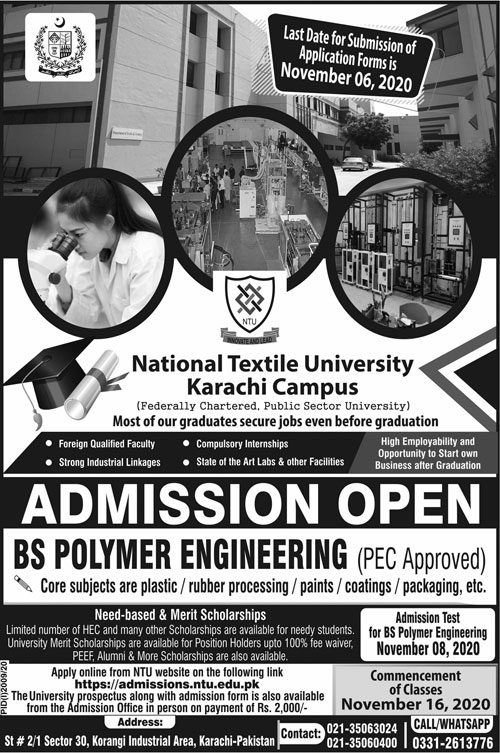 National Textile University Karachi Admissions