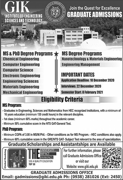 Gik Institute Of Engineering Sciences & Technology Swabi Admissions