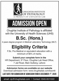 Chughtai Institute Of Pathology Lahore Admissions