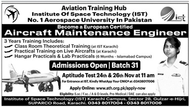 Institute Of Space Technology Karachi Admissions