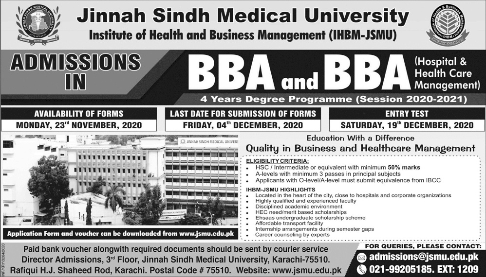 Jinnah Sindh Medical University Karachi Admissions