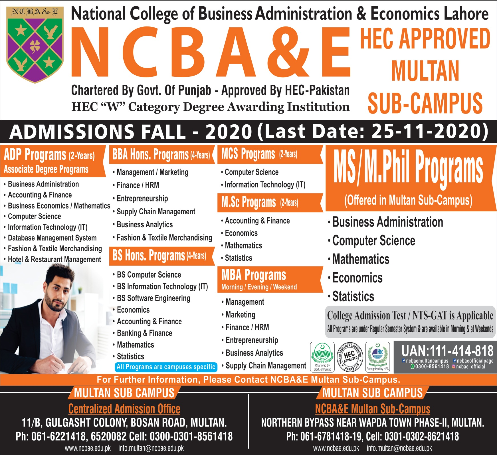 National College Of Business Administration & Economics Lahore Admissions