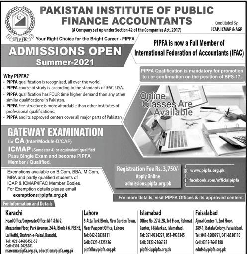 Pakistan Institute Of Public Finance Accountants Karachi Admissions