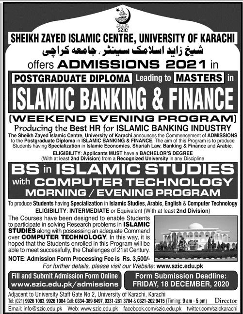 Sheikh Zayed Islamic Centre Karachi Admissions