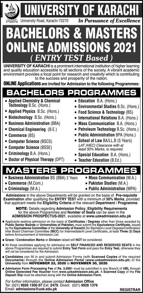 University Of Karachi Admissions
