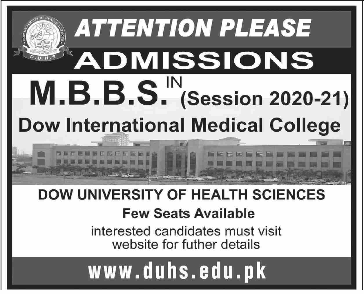 Dow University Of Health Sciences Karachi Admissions