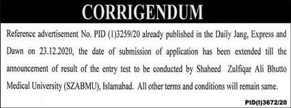 Shaheed Zulfiqar Ali Bhutto Medical University Islamabad Admissions