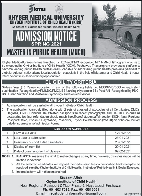 Khyber Medical University Peshawar Admissions