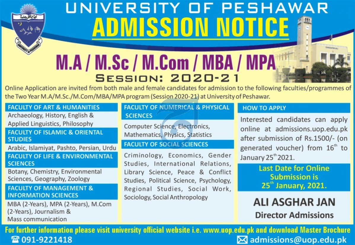 University Of Peshawar Admissions.