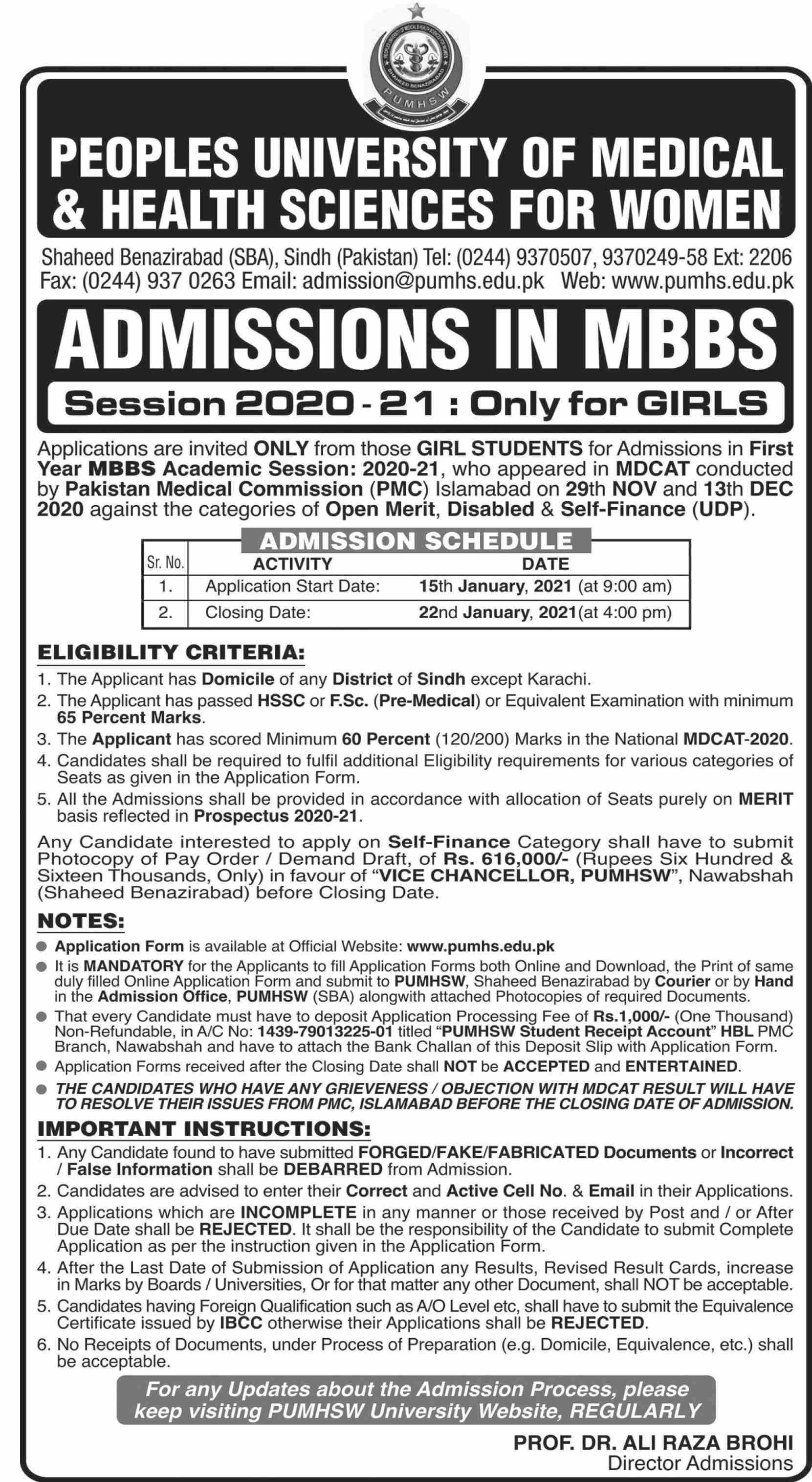 Peoples University Of Medical & Health Sciences For Women Shaheed Benazirabad Admissions