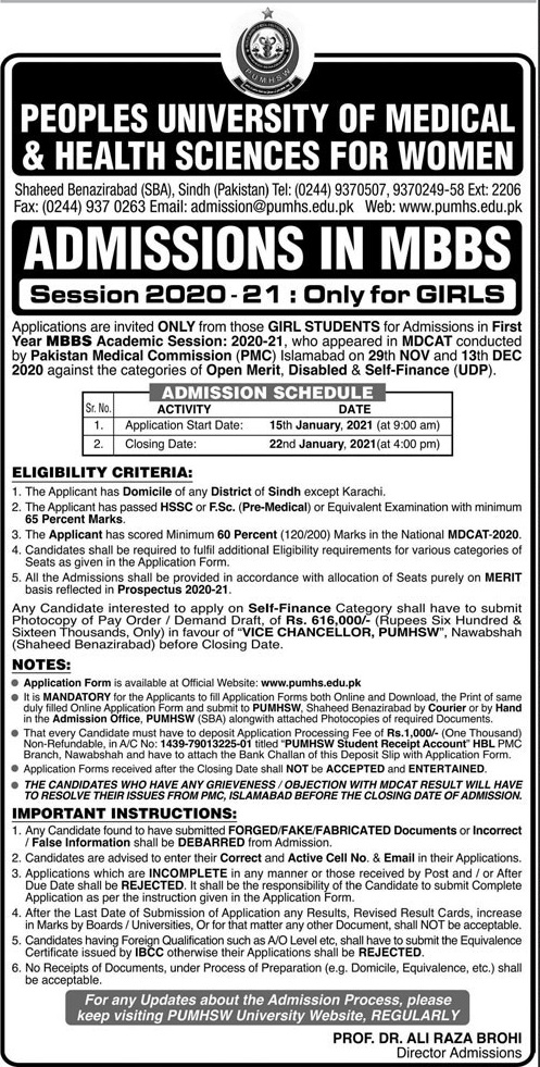 Peoples University Of Medical & Health Sciences For Women Karachi Admissions