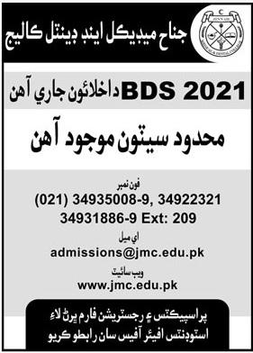 Jinnah Medical & Dental College Karachi Admissions