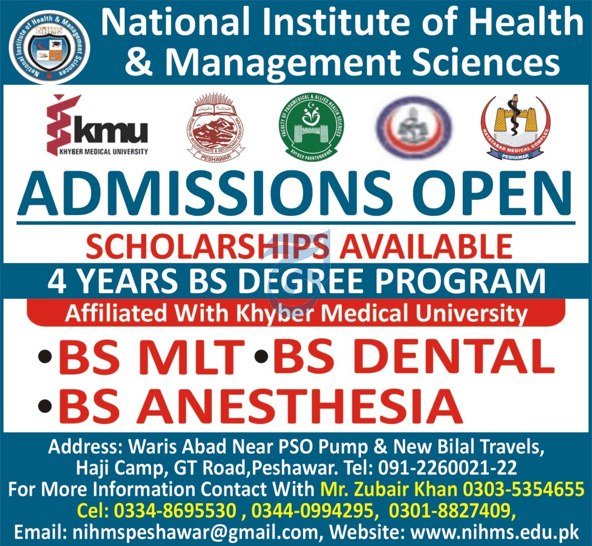 National Institute Of Health & Management Sciences Peshawar Admissions