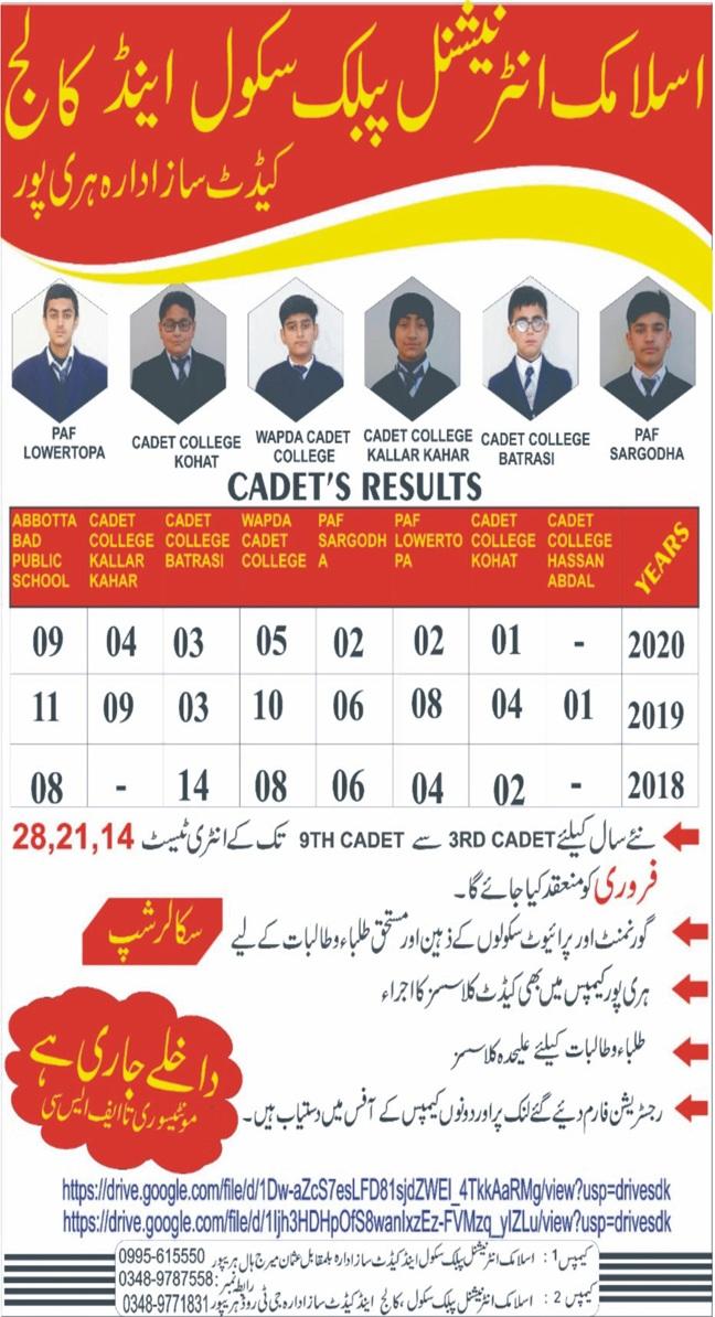 Islamic International Public School & College Haripur Admissions