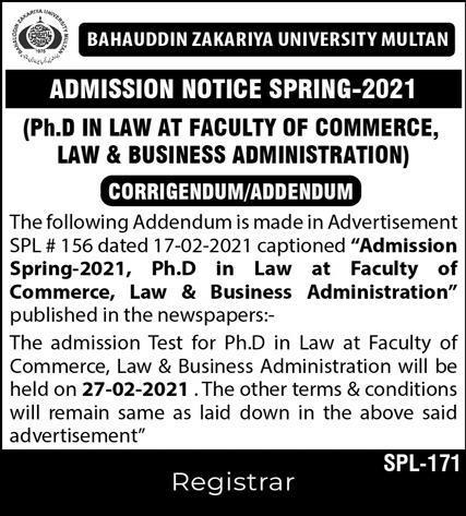 Bahauddin Zakariya University Multan Admissions