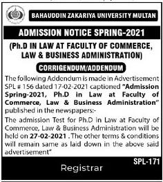Bahauddin Zakariya University Multan Admissions(02)