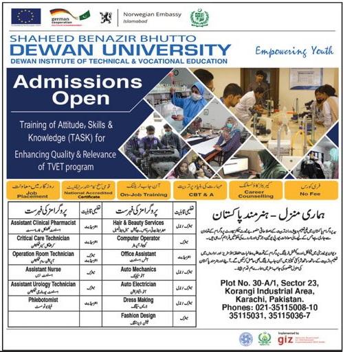 Shaheed Benazir Bhutto Dewan University Karachi Admissions